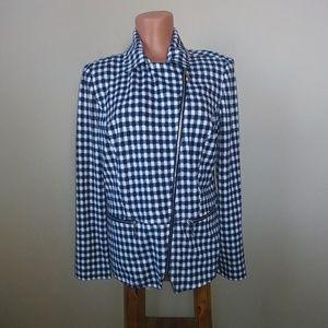 Chico's Blue and White Checkered Blazer